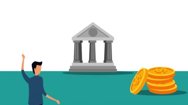 Eleganter Geschäftsmann mit Bankgebäuden und Münzen