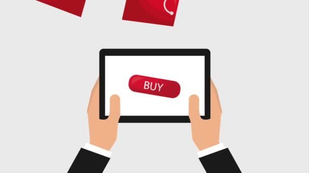 online vásárlás animációs kéz tabletta táskák áruház