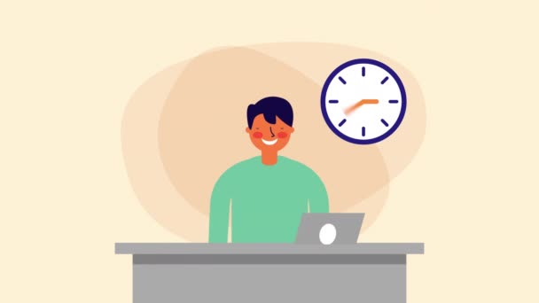 obchodník s hodinkovým pracovníkem v kanceláři