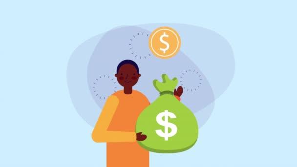 Afro-Geschäftsmann Arbeiter mit Münzen Geld