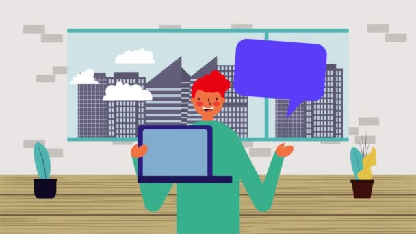 businessman worker with laptop and speech bubble
