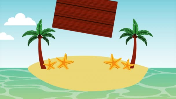 beach seascape with wooden label animation
