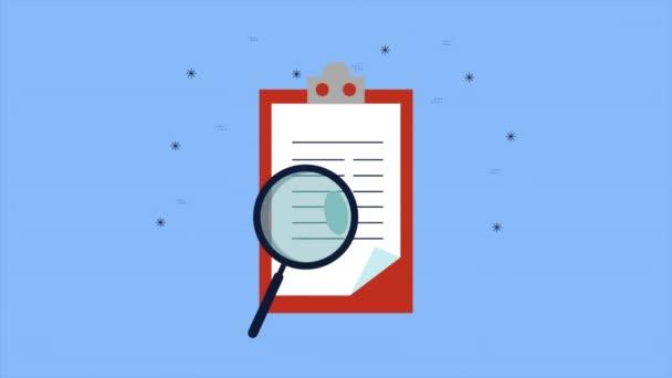 Zwischenablage mit Checklisten-Dokument und Lupenanimation