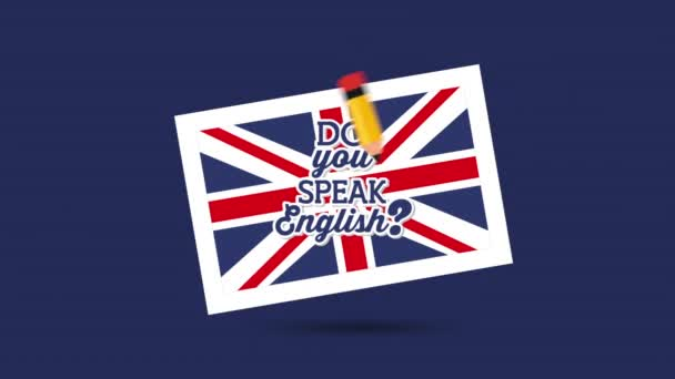 british flag and pencil learn english animation