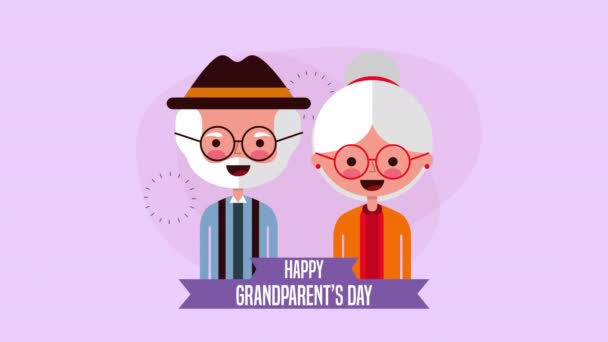 happy grandparents day card with couple lovers