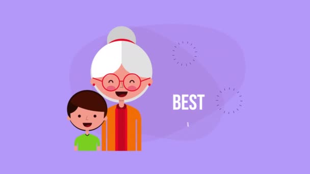 happy grandparents day card with grandmother and grandson