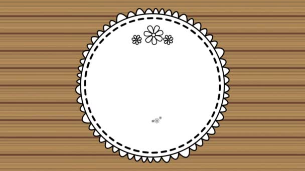 elegant circular frame with wooden background video animation