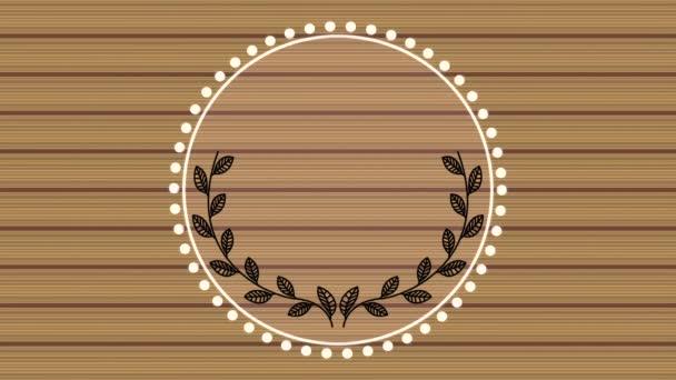 elegantní kruhový rám s dřevěnou animací videa na pozadí