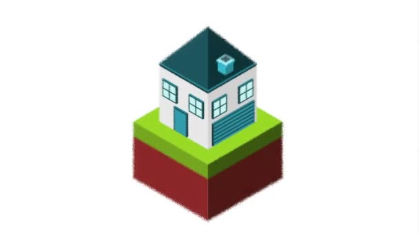 isometric terrain grass with house
