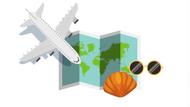 airplane flying with set travel items animation