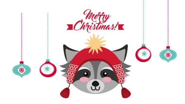 happy merry christmas card with little raccoon