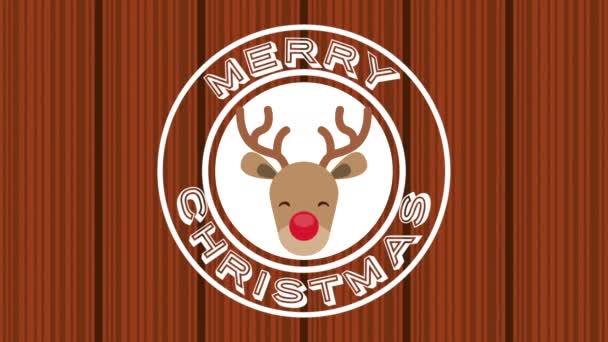 happy merry christmas card with cute reindeer