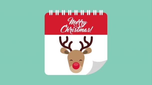 boldog boldog karácsonyt kártya aranyos rénszarvas naptár