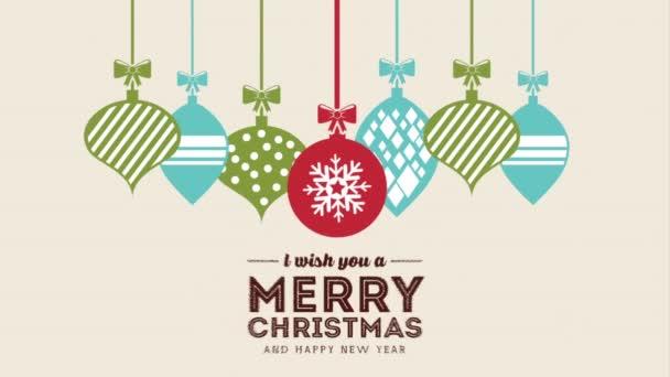 Šťastné veselé vánoční přání s míčky visí
