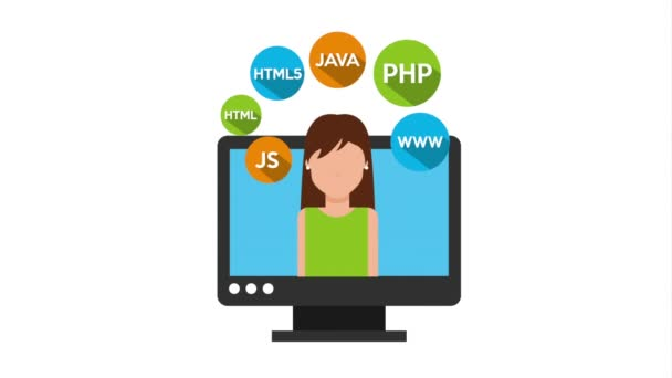 programmer woman with desktop and icons animation