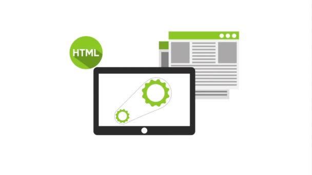 programovací jazyk s animací tabletu a ikon