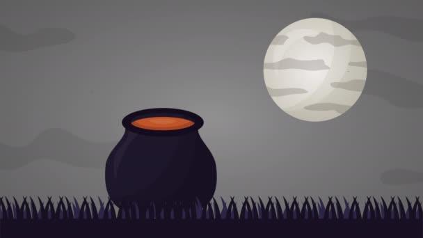 boldog halloween ünnepség Witch üst animáció