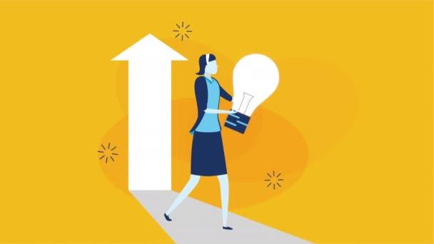 podnikatelka pracovník s úspěchem šipka nahoru a žárovka