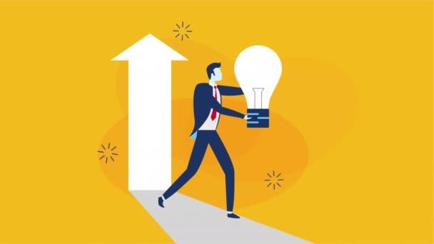 podnikatelský pracovník zvedání žárovky animace znaků