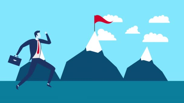businessman worker running with mountains animation