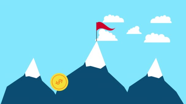 success snow mountains with flag