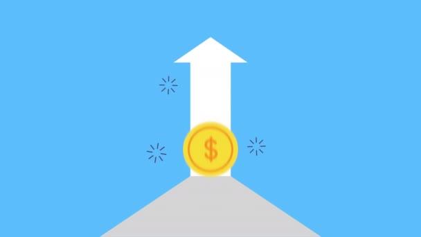 Münzgeld Dollar mit Pfeil nach oben Animation