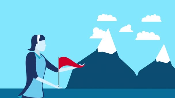 businesswoman worker with success flag and mountains