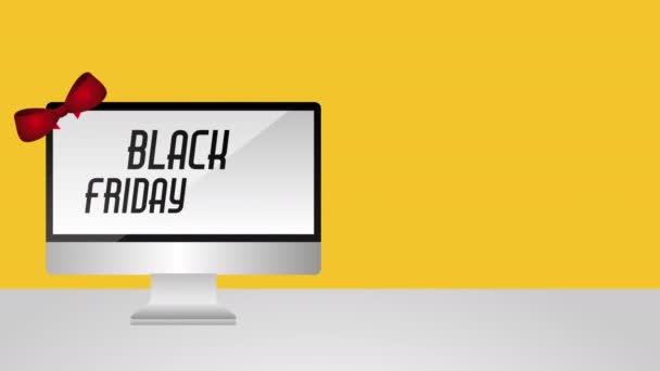 černý pátek nabídky štítek s desktop a nákupní taška