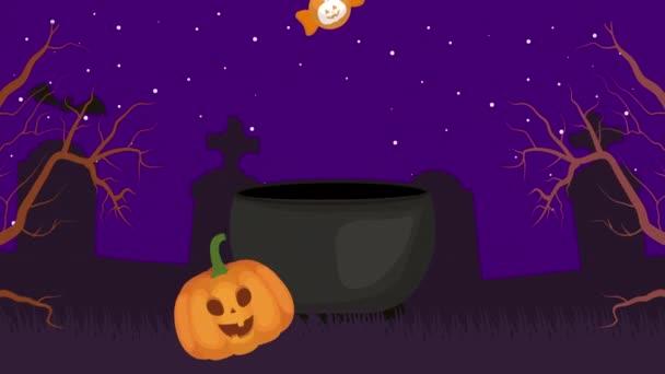 halloween sötét jelenet sütőtök és cukorka az üstben