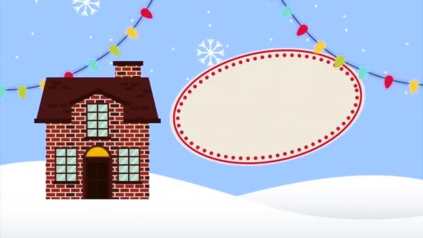 Šťastné veselé vánoční animace s domem ve sněhu