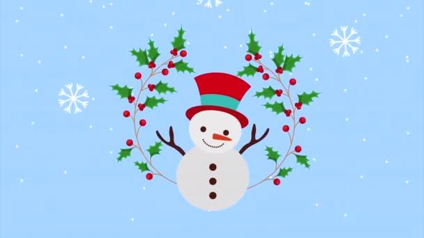 Frohe Weihnachten Animation mit Schneemann