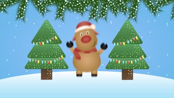 happy merry christmas animation with reindeer in snowscape