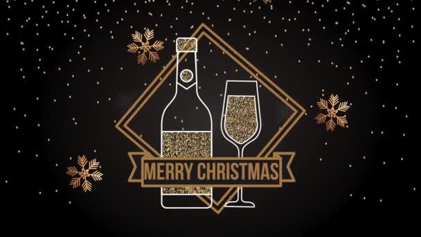 Veselé Vánoce animace s lahví a pohár šampaňské