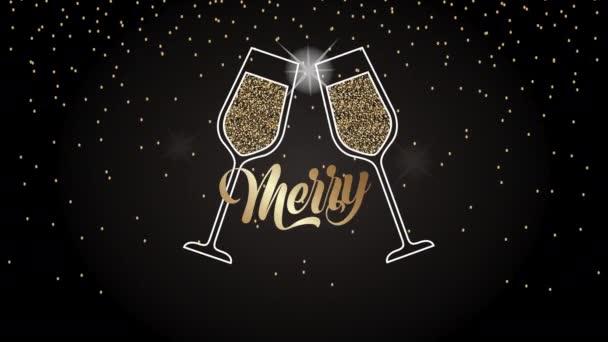 Veselé Vánoce animace s brýlemi toasting