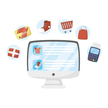 Computer with shopping icons vector design