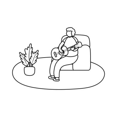 eldery man playing guitar in home activity line style