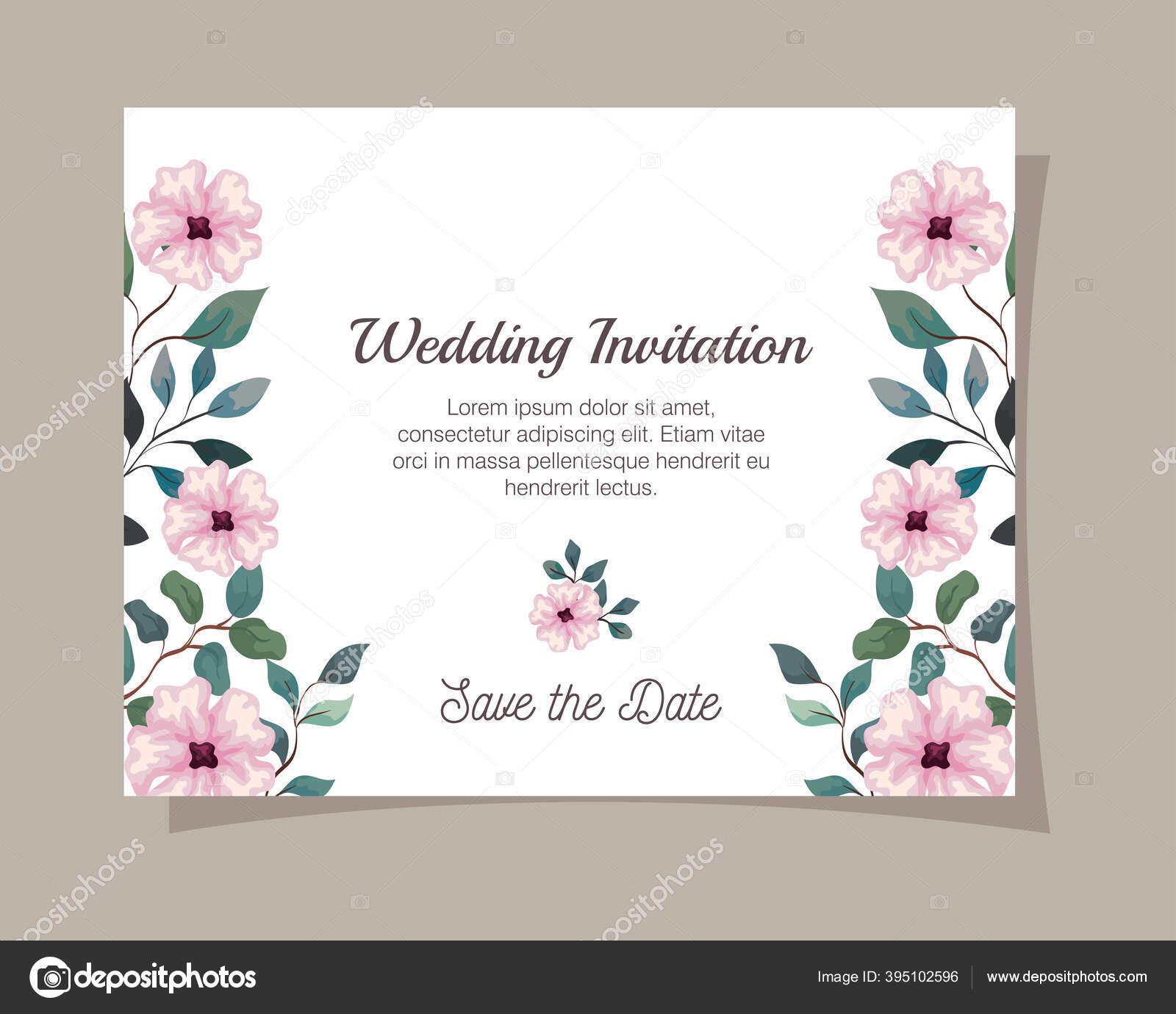 Kartu Ucapan Dengan Bunga Warna Merah Muda Undangan Pernikahan Dengan Bunga Warna Merah Muda Dengan Cabang Dan Daun Dekorasi Stok Vektor C Yupiramos 395102596