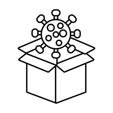 Covid19 particle in box carton line style icon vector illustration design icon