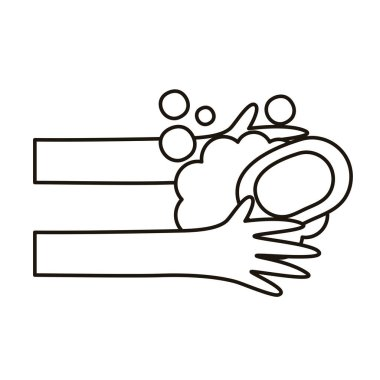 Hands human washing with soap bar vector illustration design icon