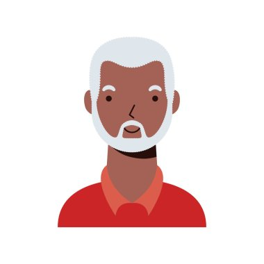 Old afro ethnic man character icon vector flat style design icon