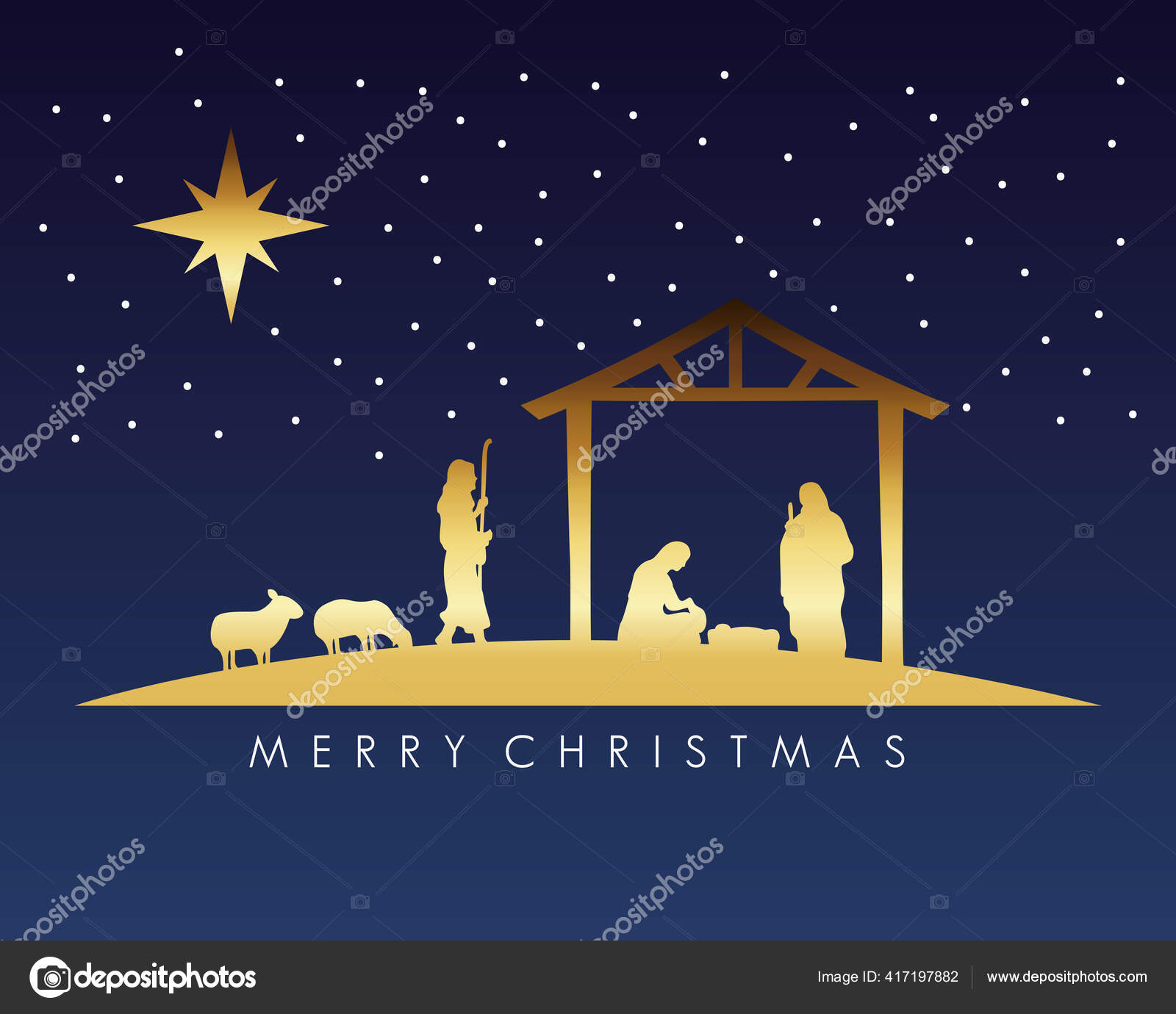Happy Merry Christmas Manger Scene With Golden Holy Family In Stable And Animals Stock Vector Image By C Yupiramos 417197882