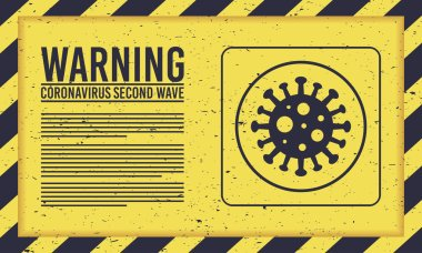 Covid19 second wave lettering campaign with virus particle in yellow background vector illustration design icon