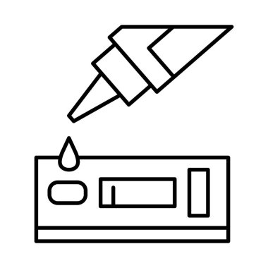 Dropper with drop and test line style icon design of Medical care health and emergency theme Vector illustration icon