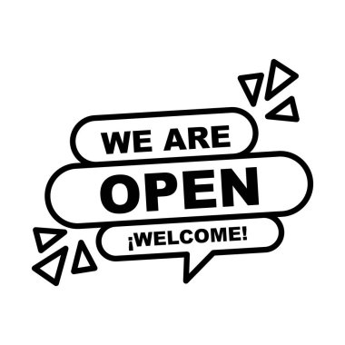 We are open welcome bubble line style icon design of Shopping commerce and covid 19 theme Vector illustration icon