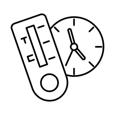 Test and clock line style icon design of Medical care health and emergency theme Vector illustration icon