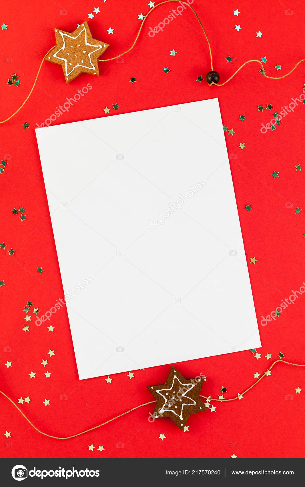 Creative New Year Christmas Greetings Letter Mockup Flat Lay Top