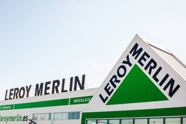 SAGUNTO, SPAIN - FEBRUARY 08, 2019: Leroy Merlin store chain brand logo at its building located in Sagunto shopping area, Spain. Leroy Merlin is a French home improvement and gardening retailer