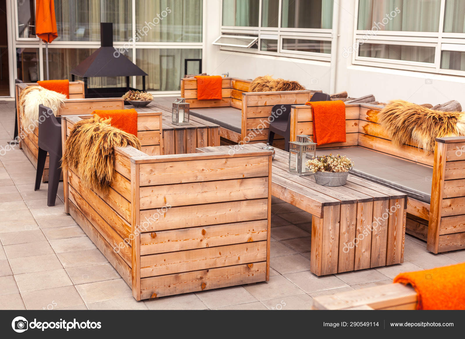 Outdoor Restaurant Terrace With Wooden Furniture Stock Photo C Dvoevnore 290549114
