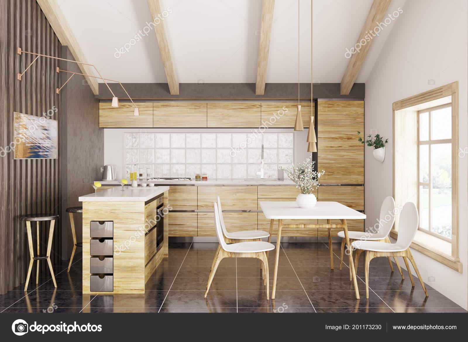 Moderne Kuche Mit Weissem Granit Zahler Fenster Tisch Und Stuhle