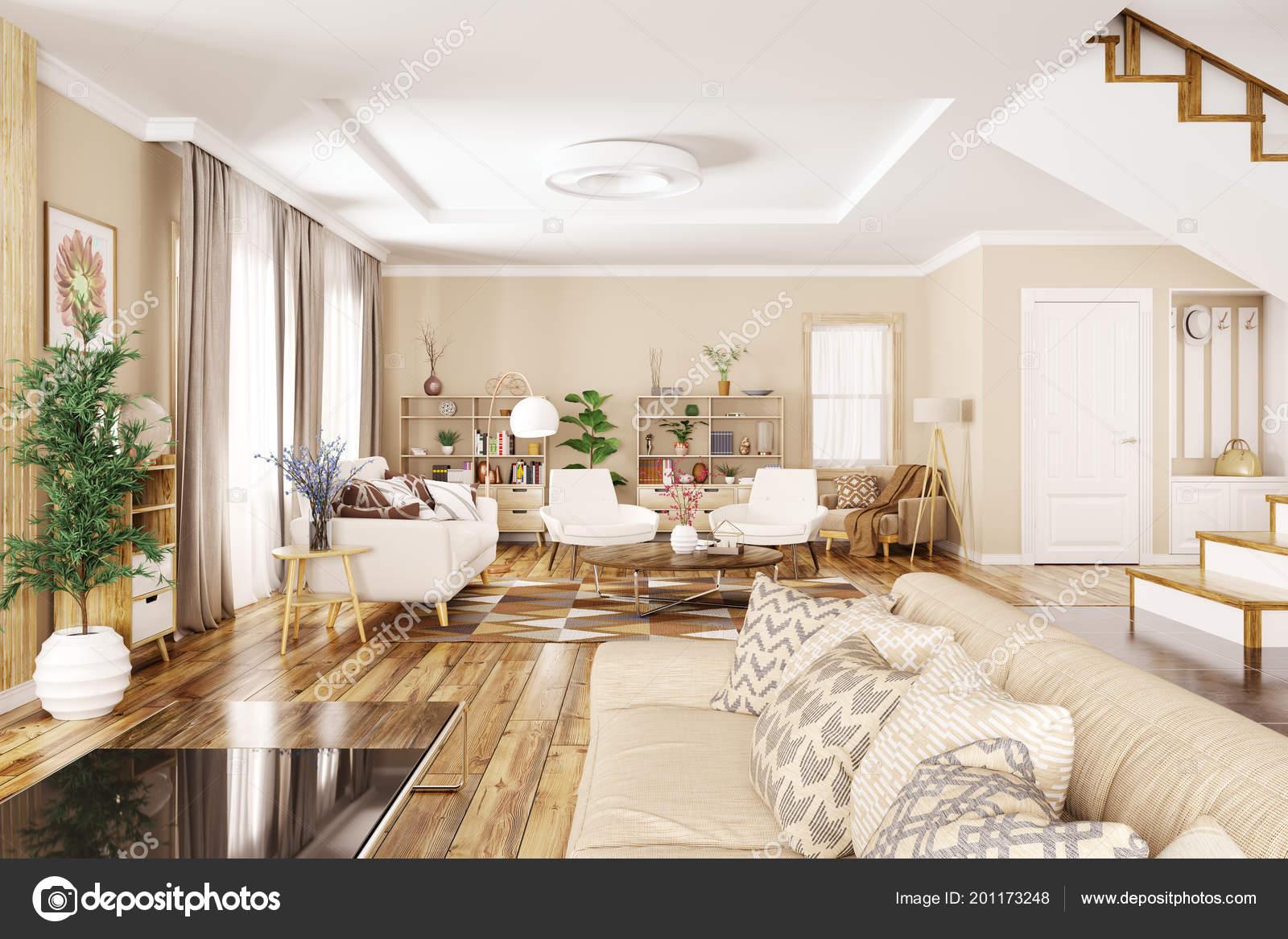 Interiore Moderno Della Casa Ingresso Soggiorno Con Divano ...